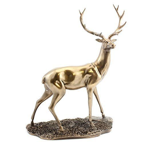 Beautiful Large Cold Cast Bronze Standing Doe Deer Ornament Gift Damaged Box