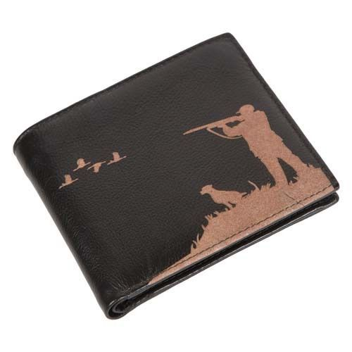Engraved Leather Mens Wallet Shooting Hunting Luxury Quality with Cards Only