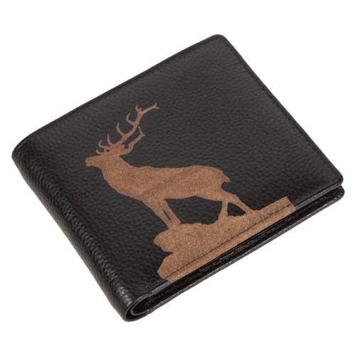 Engraved Leather Mens Wallet Stag Image Luxury Quality Leather Card Holder