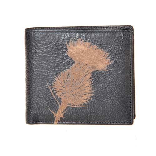 Engraved Leather Mens Wallet Thistle Luxury Quality Leather for Cards Only