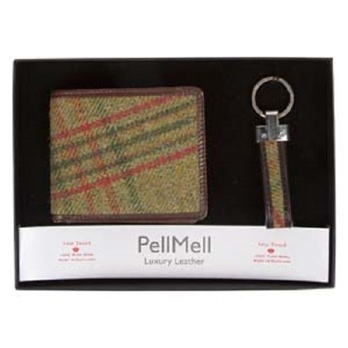 Islay Green Tweed Luxury Quality Mens Gift Set with Wallet and Key Ring