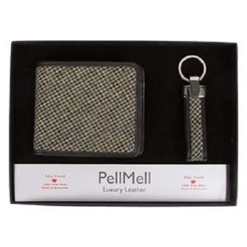 Islay Grey Tweed Luxury Quality Mens Gift Set with Wallet and Key Ring.