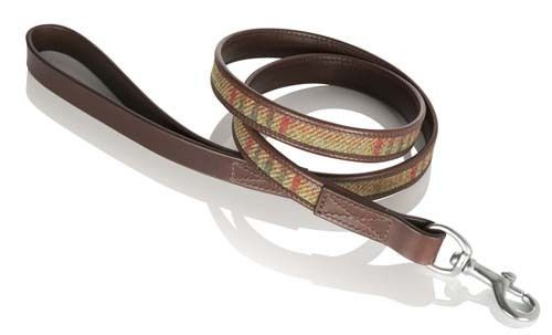 Islay Tweed and Luxury Leather Green Dog Lead in Large, Great Gift Idea Pets
