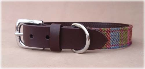 Islay Tweed and Luxury Leather Pink Dog Puppy Collar in Small,Gift Idea for Pets